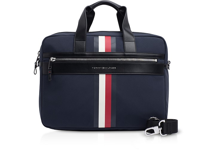 Tommy Blue Striped Nylon Elevated Briefcase - Tommy Hilfiger