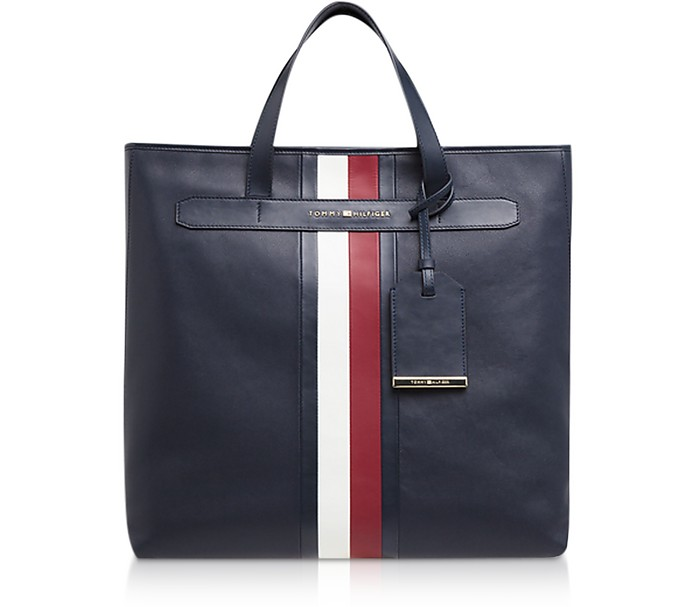 Tommy Navy Elevated Leather Men's Tote Bag - Tommy Hilfiger