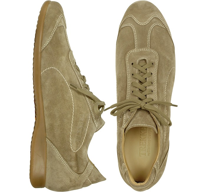 Stone Gray Suede Sneaker Lace-up Shoes - Mariano Napoli
