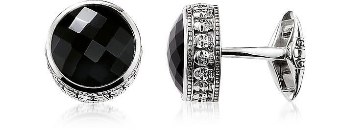 Blackened 925 Sterling silver Skull Cufflinks w/Onyx - Thomas Sabo