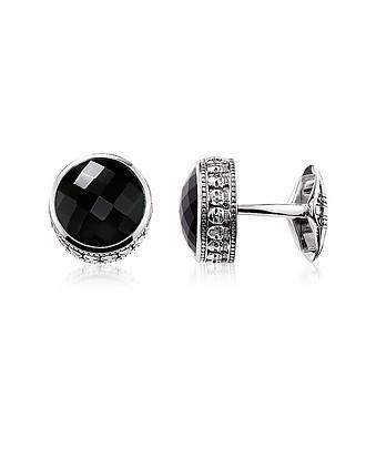 209164855 Blackened 925 Sterling silver Skull Cufflinks w/Onyx - Thomas Sabo
