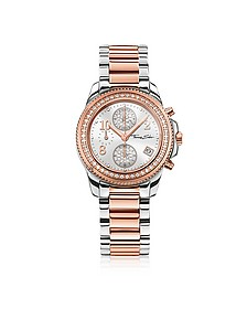 Glam Chrono Silver and Rose Gold Stainless Steel Women's Watch w/Crystals - Thomas Sabo