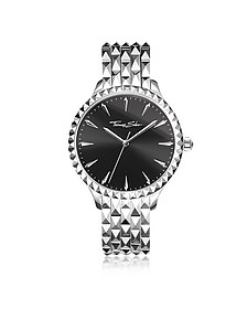 Rebel at Heart Silver Stainless Steel Women's Watch w/Black Dial - Thomas Sabo