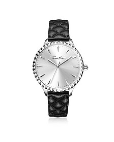 Rebel at Heart Silver Stainless Steel Women's Watch w/Black Quilted Leather Strap - Thomas Sabo