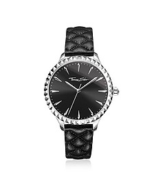Rebel at Heart Silver Stainless Steel and Black Quilted Leather Strap Women's Watch w/Black Dial - Thomas Sabo
