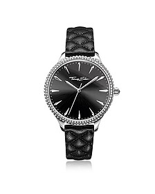 Rebel at Heart Silver Stainless Steel and Black Quilted Leather Strap Women's Watch w/Crystals - Thomas Sabo