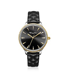 Rebel at Heart Two Tone Stainless Steel and Black Quilted Leather Strap Women's Watch w/Crystals - Thomas Sabo