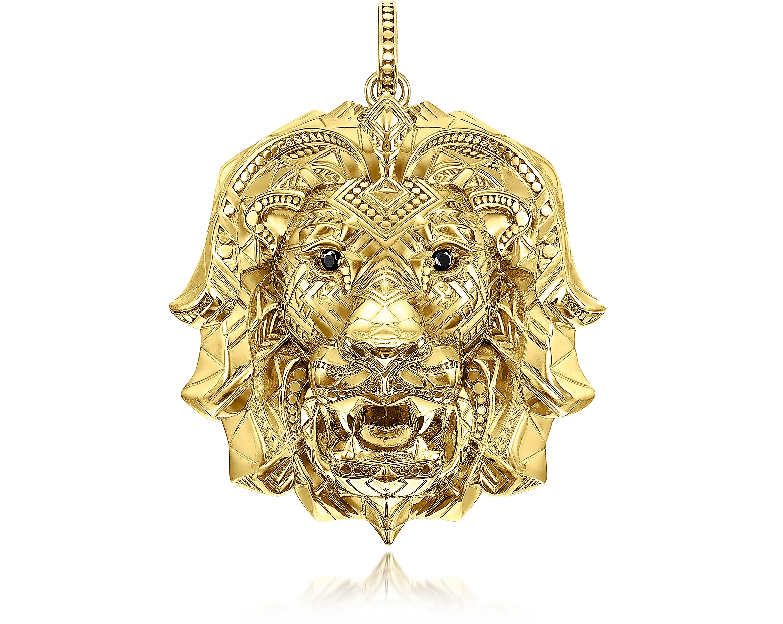 925 Sterling Silver & 18k Yellow Gold Lion Pendant w/Black Zirconia