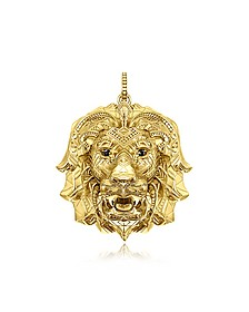 925 Sterling Silver & 18k Yellow Gold Lion Pendant w/Black Zirconia - Thomas Sabo
