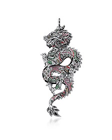 Blackened Sterling Silver, Enamel and Glass-ceramic Stones Medium Chinese Dragon Pendant - Thomas Sabo