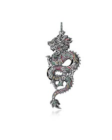 Blackened Sterling Silver, Enamel and Multicolor Glass-ceramic Stones Small Chinese Dragon Pendant - Thomas Sabo