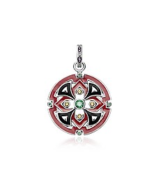Blackened Sterling Silver, Glass-Ceramic Stone and Synthetic Corundum Round Pendant - Thomas Sabo