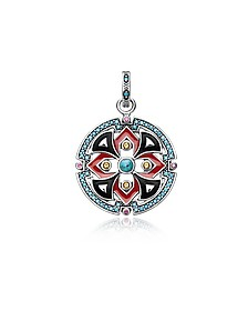 Black and Red Enamelled Sterling Silver Round Pendant w/Synthetic Turquoise and Red Corundum - Thomas Sabo