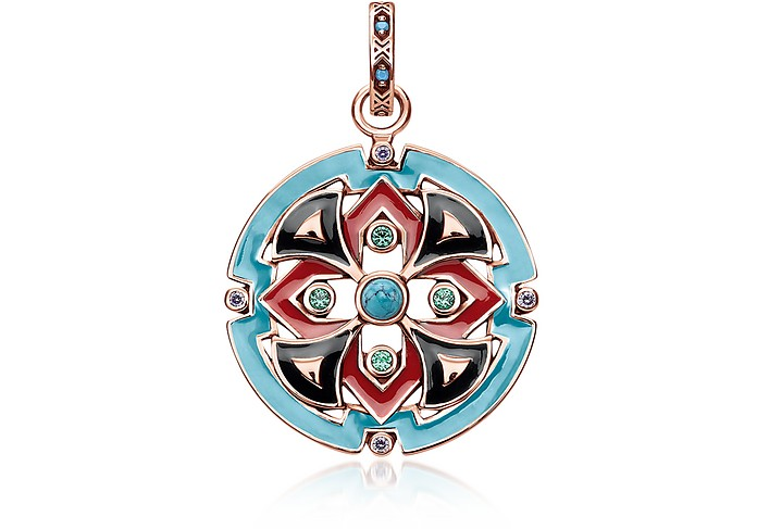 18k Rose Gold Plated Sterling Silver Round Pendant w/Glass-ceramic Stones - Thomas Sabo