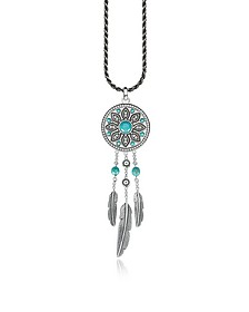 Blackened Sterling Silver Feather Long Necklace w/White Cubic Zirconia and Turquoise Dream Catcher Pendant - Thomas Sabo
