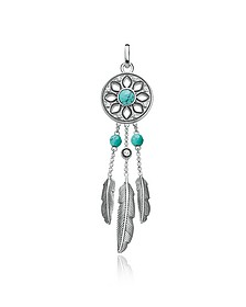 Blackened Sterling Silver Feather Pendant w/ White Cubic Zirconia and Turquoise - Thomas Sabo