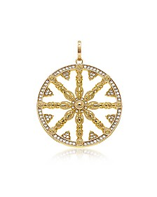 Yellow Gold Plated Sterling Silver Round Pendant w/White Cubic Zirconia - Thomas Sabo