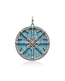 Blackened Sterling Silver Pendant w/Synthetic Turquoise and Cubic Zirconia - Thomas Sabo