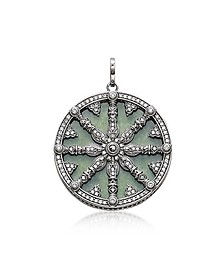 Blackened Sterling Silver Pendant w/White Cubic Zirconia and Green Aventurine - Thomas Sabo