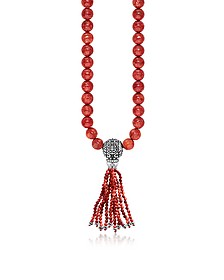 Ethnic Red Sterling Silver and Coral Beads Long Necklace w/Tassel - Thomas Sabo