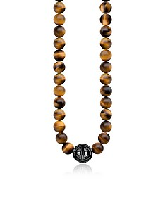 Ethnic Yellow Tiger Eye Beads and Sterling Silver Men's Necklace - Thomas Sabo