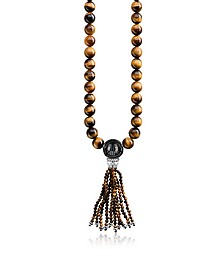 Power Blackened Sterling Silver Necklace w/Tiger Eye and Obsidian Polished Beads & Tassel - Thomas Sabo