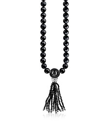 Power Blackened Sterling Silver Men's Necklace w/Obsidian Matt and Polished Tassel - Thomas Sabo