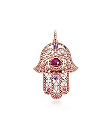 Rose Gold Plated Sterling Hand of Fatima Pendant w/Pink Zirconia - Thomas Sabo