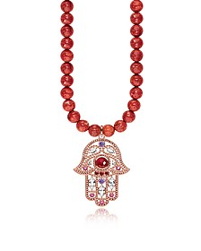 Rose Gold Plated Sterling Hand of Fatima and Red Coral Long Necklace w/Pink Zirconia - Thomas Sabo