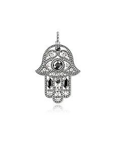 Blackened Sterling Silver Hand of Fatima Pendant w/Hematite and Zirconia - Thomas Sabo