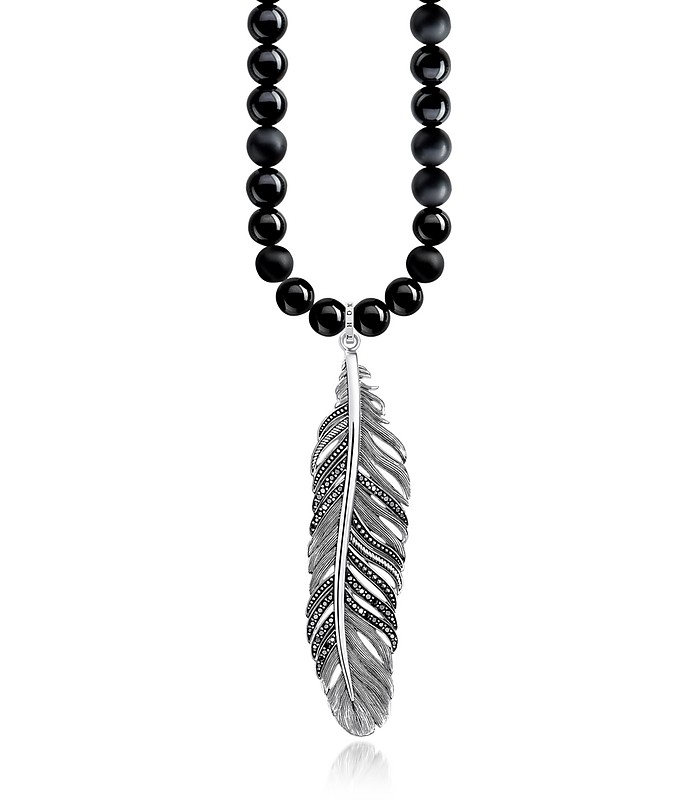 d9f9eed14da5aa Rebel Icons Black Beads and Sterling Silver Feather Pendant Necklace -  Thomas Sabo