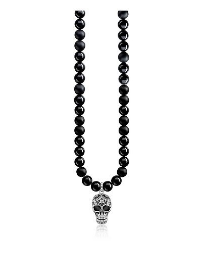 Blackened 925 Sterling Silver & Obsidian Beads Power Necklace Maori Skull Necklace w/Zirconia Pave - Thomas Sabo