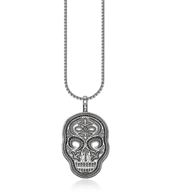 Thomas sabo blackened 925 sterling silver and zirconia pave necklace blackened 925 sterling silver and zirconia pave necklace wskull pendant thomas sabo mozeypictures Image collections