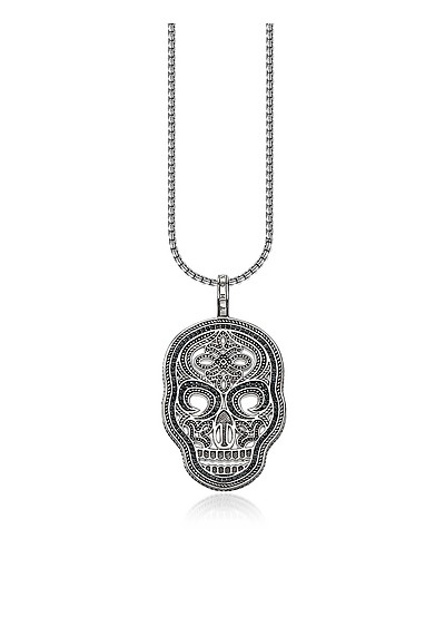 Blackened 925 Sterling Silver and Zirconia Pave Necklace w/Skull Pendant - Thomas Sabo