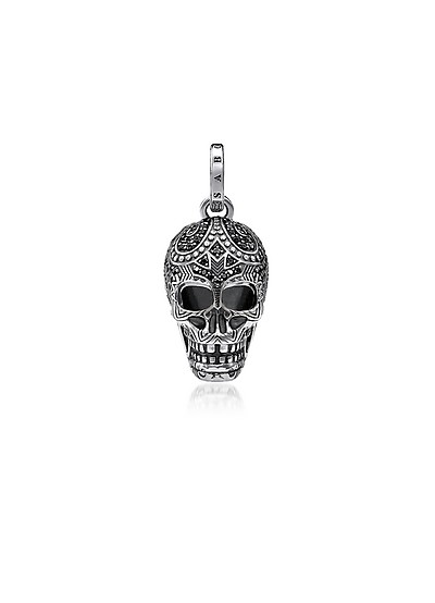Blackened 925 Sterling Silver and Zirconia Maori Skull Pendant - Thomas Sabo