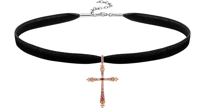 18k Rose Gold Plated Sterling Silver Royalty Cross Choker - Thomas Sabo