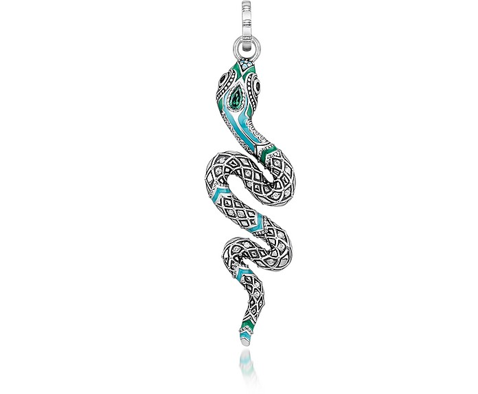 Blackened Sterling Silver, Enamel and Glass-ceramic Stones Snake Pendant - Thomas Sabo