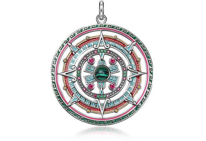 Sterling Silver, Enamel and Glass-ceramic Stones Amulet Pendant - Thomas Sabo
