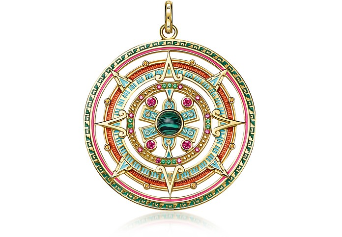 Gold Plated Sterling Silver, Enamel and Glass-ceramic Stones Amulet Pendant - Thomas Sabo