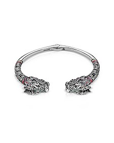 Blackened Sterling silver, Glass-ceramic Stones, Synthetic Corundum and Cubic Zirconia Dragon Bangle - Thomas Sabo