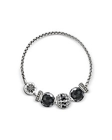 Blackened Sterling Silver Bracelet w/Obsidian and Onyx Beads - Thomas Sabo