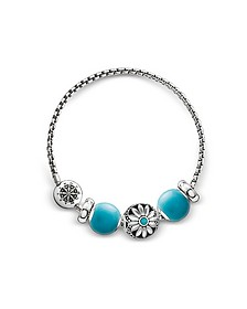 Blackened Sterling Silver Bracelet w/Turquoise Howlite Beads - Thomas Sabo