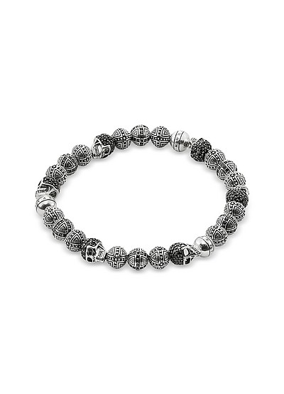 Blackened 925 Sterling Silver Cross and Skulls Bracelet w/Zirconia - Thomas Sabo