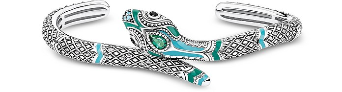 Blackened Sterling Silver, Enamel and Glass-ceramic Stones Snake Bangle - Thomas Sabo