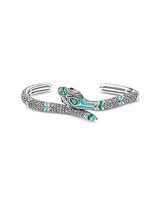 Blackened Sterling Silver, Enamel and Glass-ceramic Stones Snake Bangle - Thomas Sabo