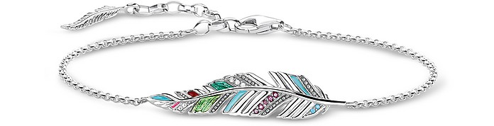 Blackened Sterling Silver, Enamel and Glass-ceramic Stones Feather Bracelet - Thomas Sabo