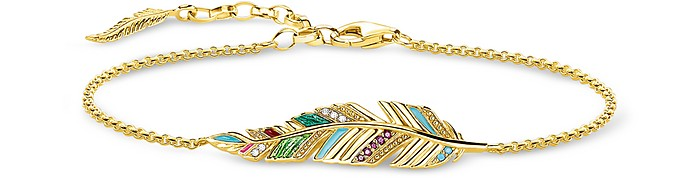 Gold Plated Sterling Silver, Enamel and Glass-ceramic Stones Feather Bracelet - Thomas Sabo