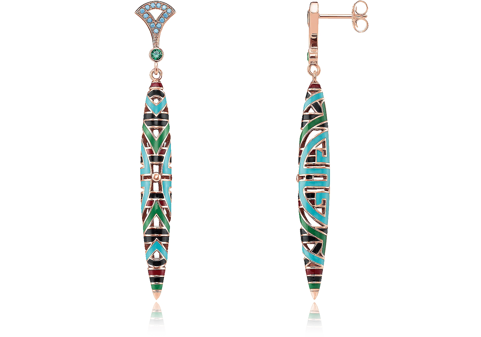 18k Rose Gold Plated Sterling silver Long Earrings w/Glass-ceramic stones