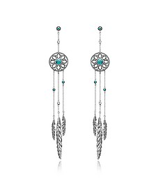 Blackened Sterling Silver Feather Pendant Earrings w/Synthetic Turquoise and White Cubic Zirconia - Thomas Sabo