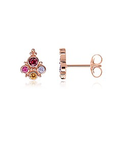 18k Rose Gold Plated Sterling Silver Royalty Colourful Stones Ear studs - Thomas Sabo